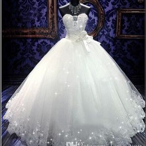 Sweetheart strapless high bling tulle ball gown